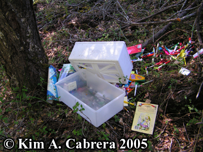 The drawer of office supplies they ditched in the                 woods. Photo copyright Kim A. Cabrera 2005.