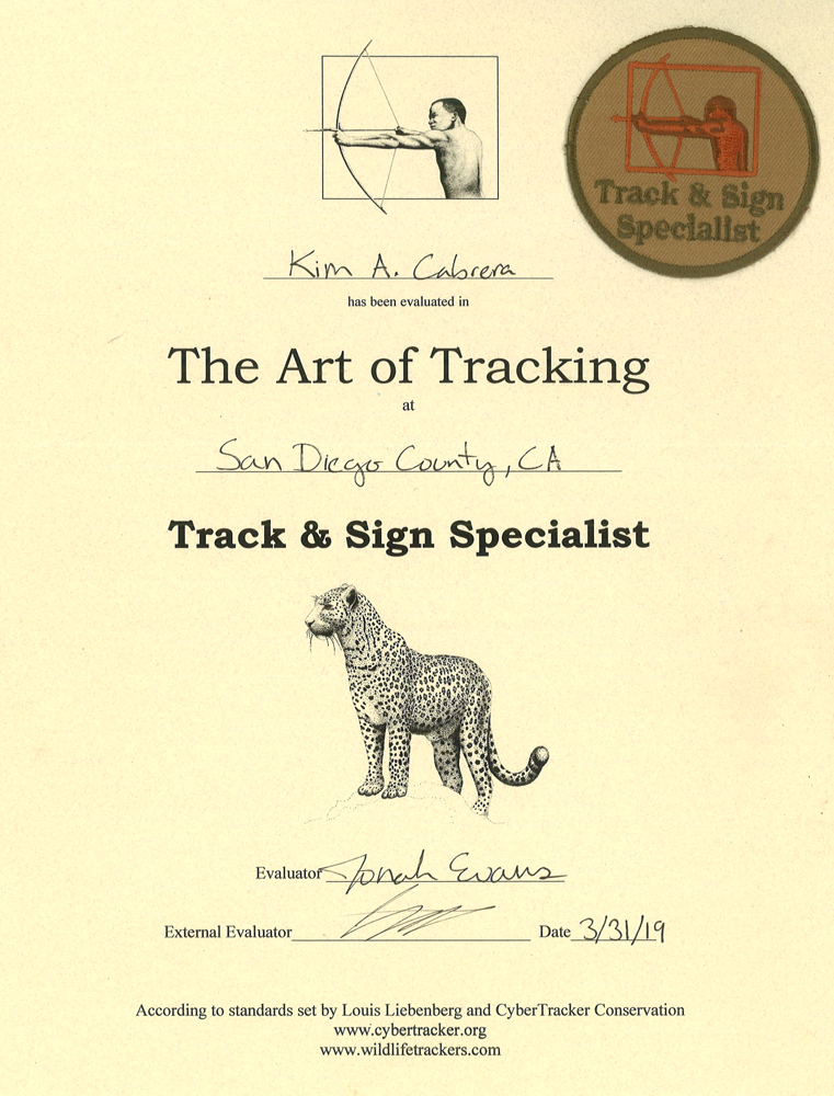 specialist certificate from desert biome March                   2019